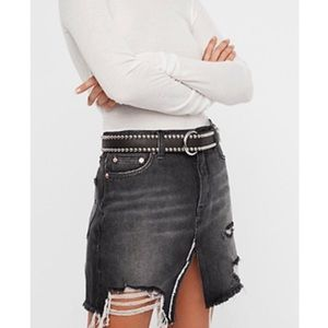 Free People Relaxed & Destroyed Denim Skirt Sz 28